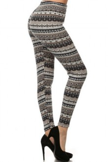 Women's SML Full Length Thermal Leggings, Shades of Gray,Brown, will go well with white shirt