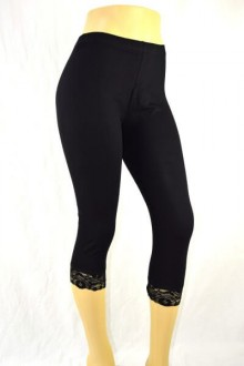 Women's SML Capri Pants, Black with lace band at bottom, will compliment long camisole