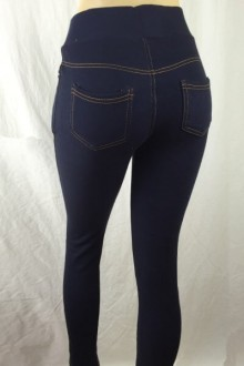 Women's SML Full Length Jeggings, Dark Blue Denim, go well together with cool looking button down shirt