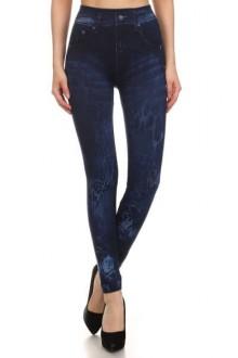 Women's SML Full Length Bleached Jeggings, Blue Denim, look fantastic with plain jumper
