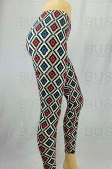 Women's SML Full Length Leggings, Blue, Red, White, compliment plain shirt