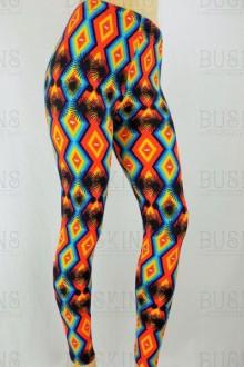 Women's SML Full Length Leggings, Orange, Black, Yellow, Blue, will go well with black jumper