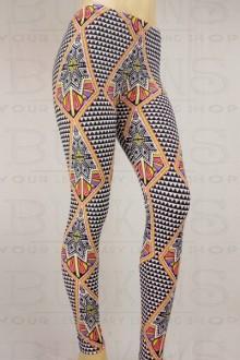 Women's SML Full Length Leggings, White, Black Pastel Pink, Orange & Blue, compliment comfortable button down plain shirt