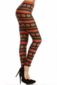 Women's SML Full Length Thermal Leggings, Brown, Red, Gold, will go well with cool looking camisole
