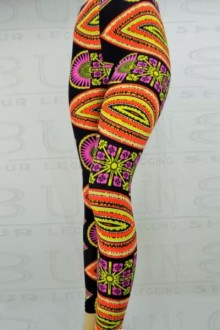 Women's SML Full Length Leggings, Black Base, Orange, Yellow, Violet, compliment comfortable plain color T