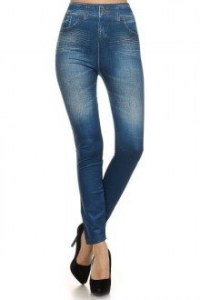 Women's SML Full Length Jeggings, Blue Denim, will look well with cool looking t shirt