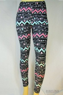 Women's SML Full Length Leggings, Black Base, Pink, Blue, White, look great with comfortable white shirt