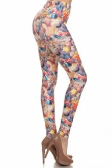 Women's SML Full Length Leggings, Pink, Blue, Peach, White Pastel Colors, go well together with dark button down