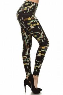 Women's SML Full Length Leggings, Black Base, Brown, Yellow, Green, White, compliment comfortable white blouse