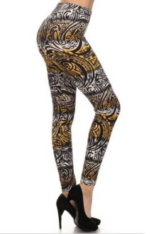 Women's SML Full Length Leggings, Gold, Brown, White, will look well with short white sweater