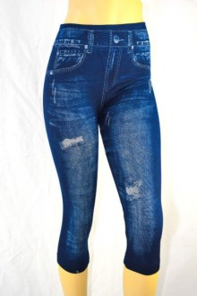 Women's SML Torn Capri Jeggings, Blue Denim, look great with vibrant jumper