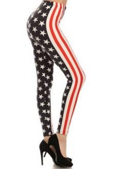 Women's SML Full Length Leggings, Red, White, Blue, look fantastic with long plain top
