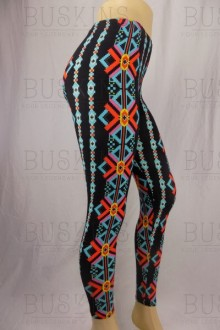Women's SML Full Length Leggings, Black Base, Red, Blue Yelow, go well together with short light blouse