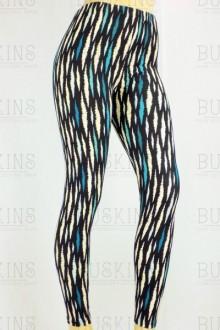 Women's SML Full Length Leggings, Black Base, Blue Beige, will compliment stylish plain cami