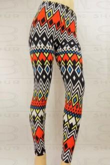 Women's SML Full Length Leggings, Black Base,Orange, White, Blue, Yellow, will look well with black shirt