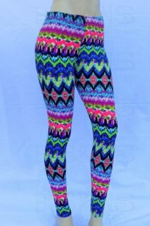 Women's SML Full Length Leggings, Blue, Pink, Green, go well together with long plain top